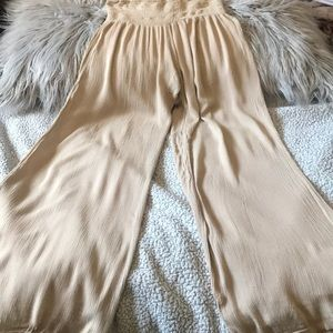 Beige loose flair out pants